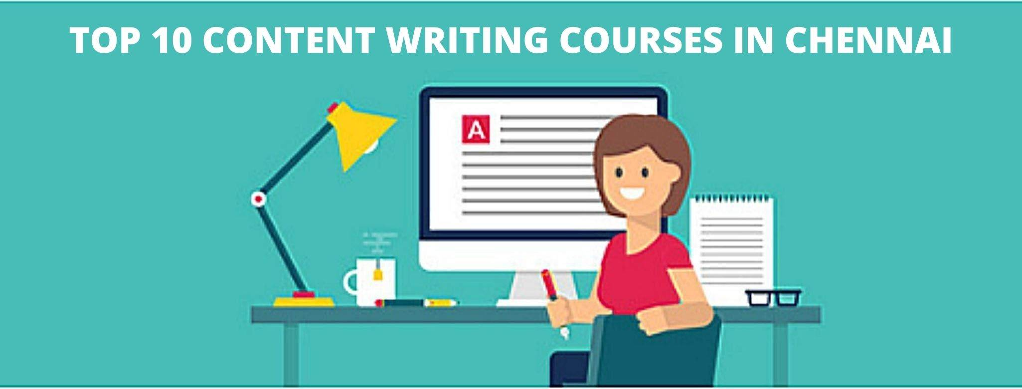 The image is about content writing courses in Chennai