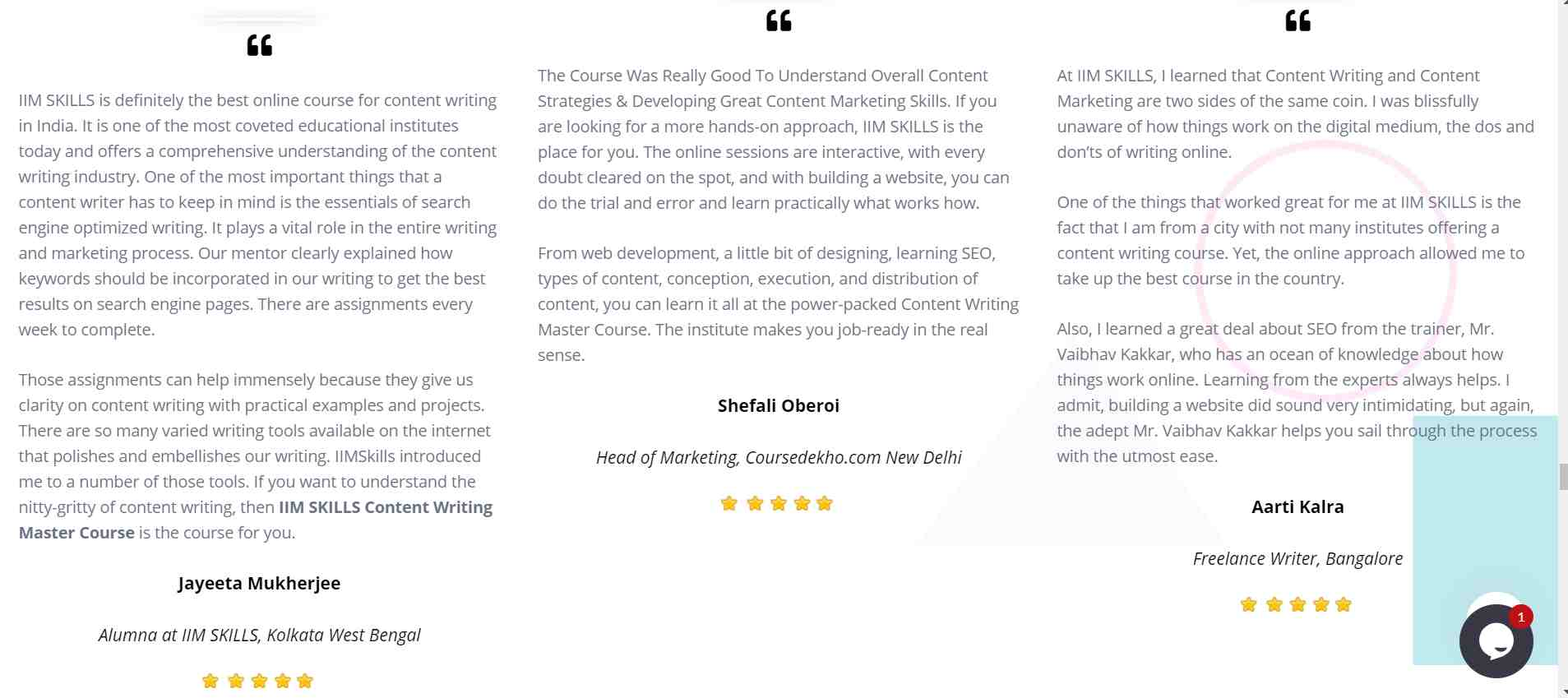 IIM Skills content writing course reviews and testimonials